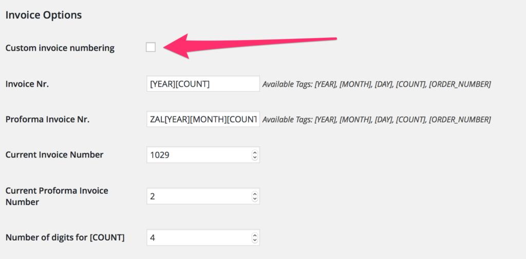 Ak už máte číselníky nastave priamo cez SF, odporúčam Custom invoice numbering ponechať vypnuté.