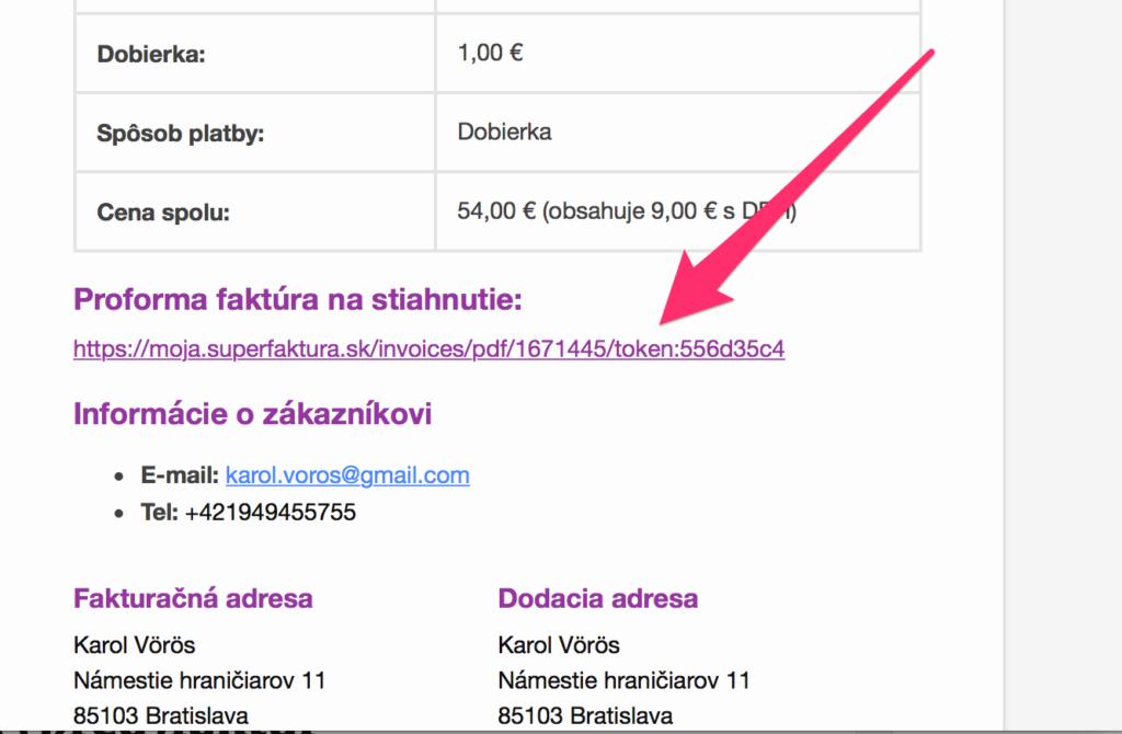 Default WooCommerce email s odkazom na SuperFaktúru