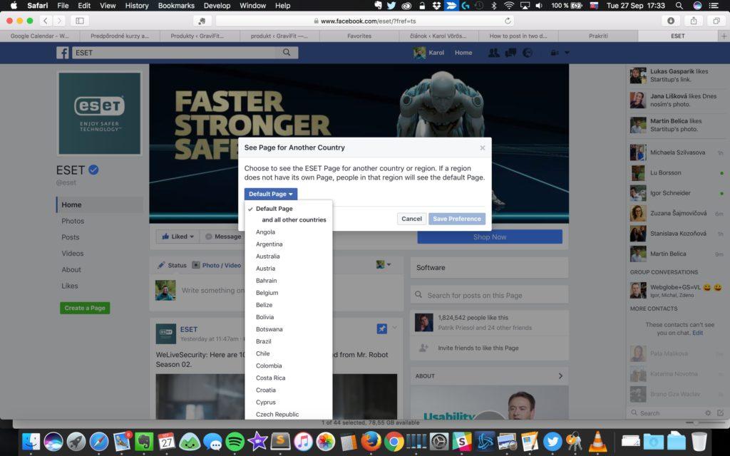 zmena regiónu na facebooku