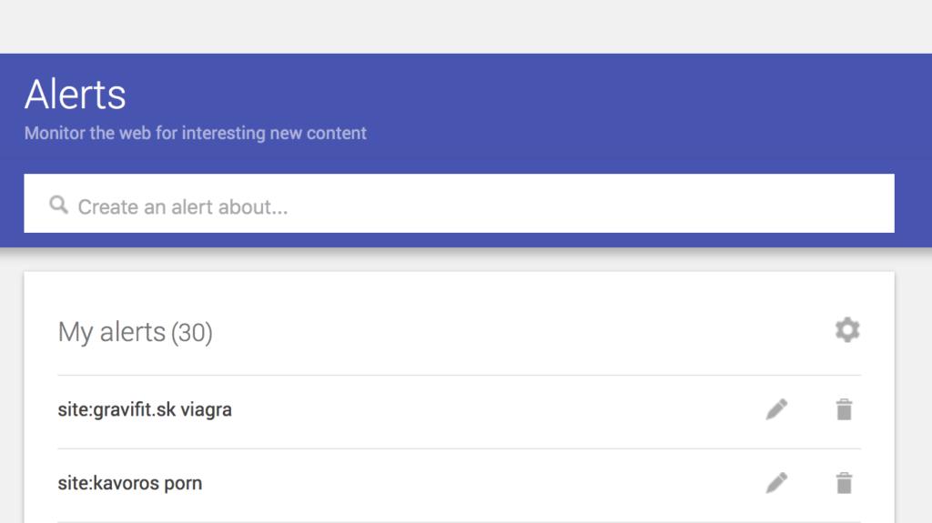 Spam filter v Google Alerts