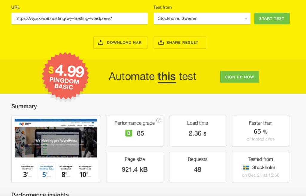 Rýchlosť načítania stránky wy.sk cez nástroj Pingdom