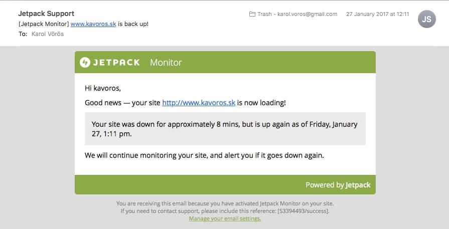 Jetpack monitor pre WordPress