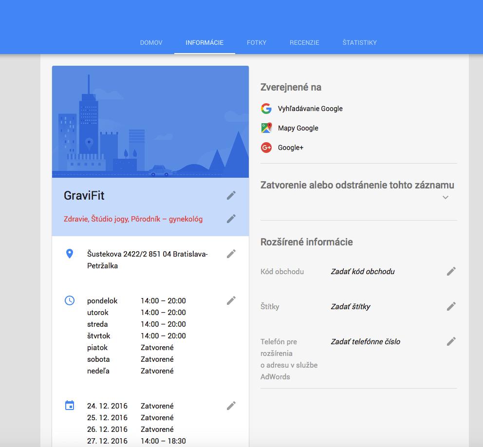 Otváracie hodiny firmy na Google Maps