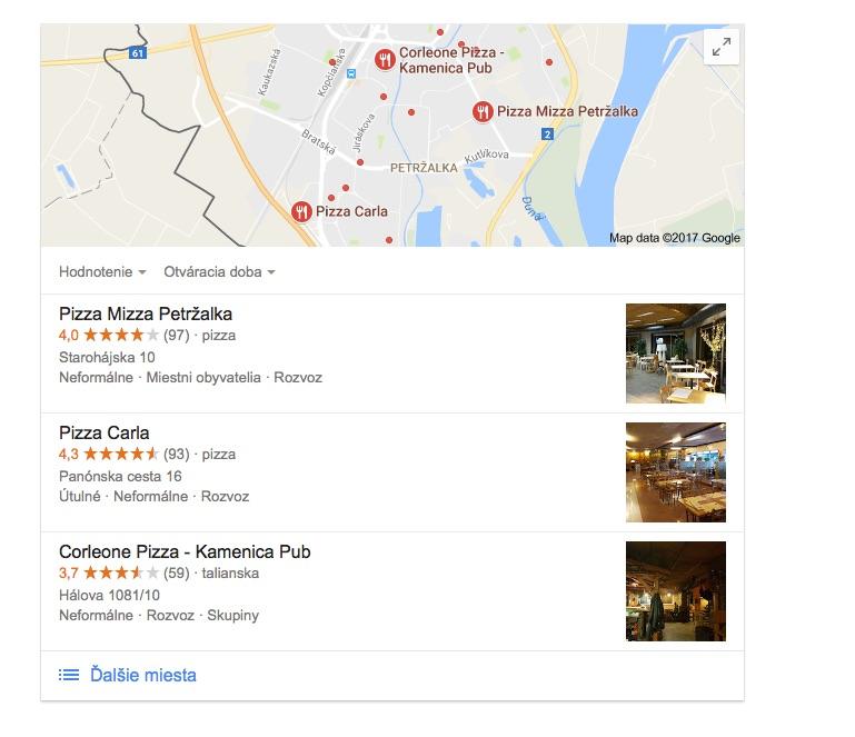 Najlepšia PIzza v Petržalke podľa Google.