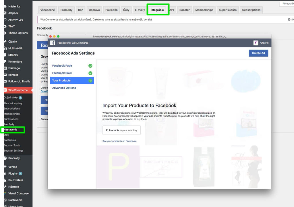 Nastavenie pluginu Facebook for WooCommerce vo WordPress admine