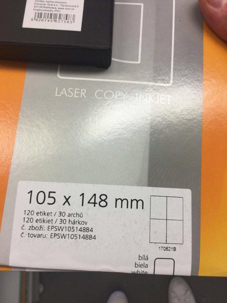samolepiace etikety A4 105x148