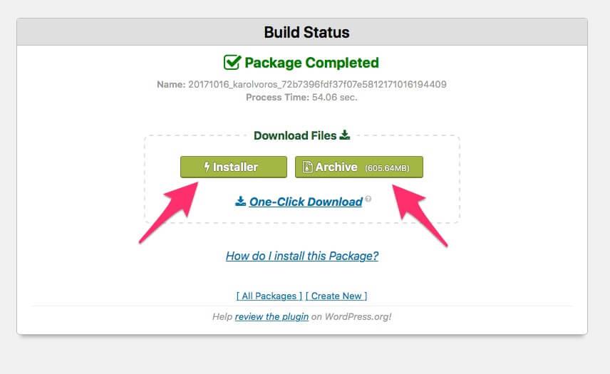 WordPress plugin Duplicator, stiahnutie balíčka