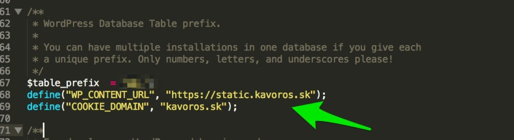 Nastavenie premennej WP_CONTENT_URL v súbore wp-config.php na webe kavoros.sk.
