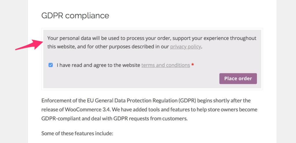 Zobrazenie informácii o ochrane osobných údajov (GDPR) vo WooCommerce 3.4.