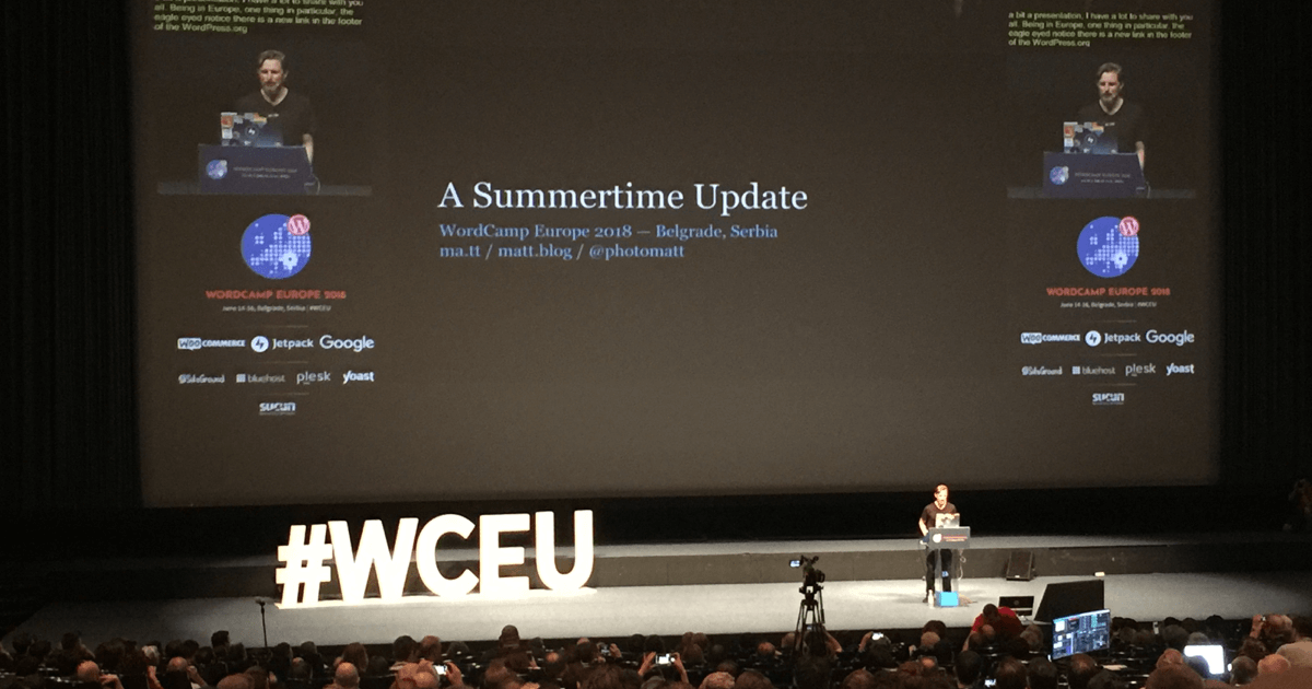 Matt Mullenweg na WordCamp Europe 2018