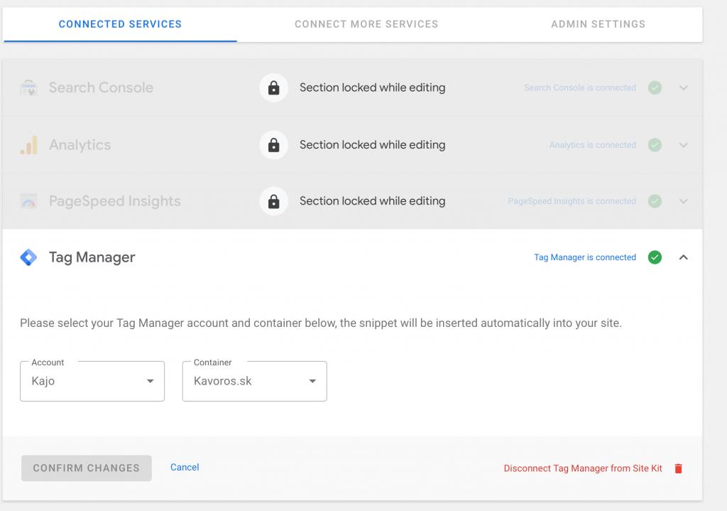 Nastavenie Tag Manager v prostredí Google Site Kit.